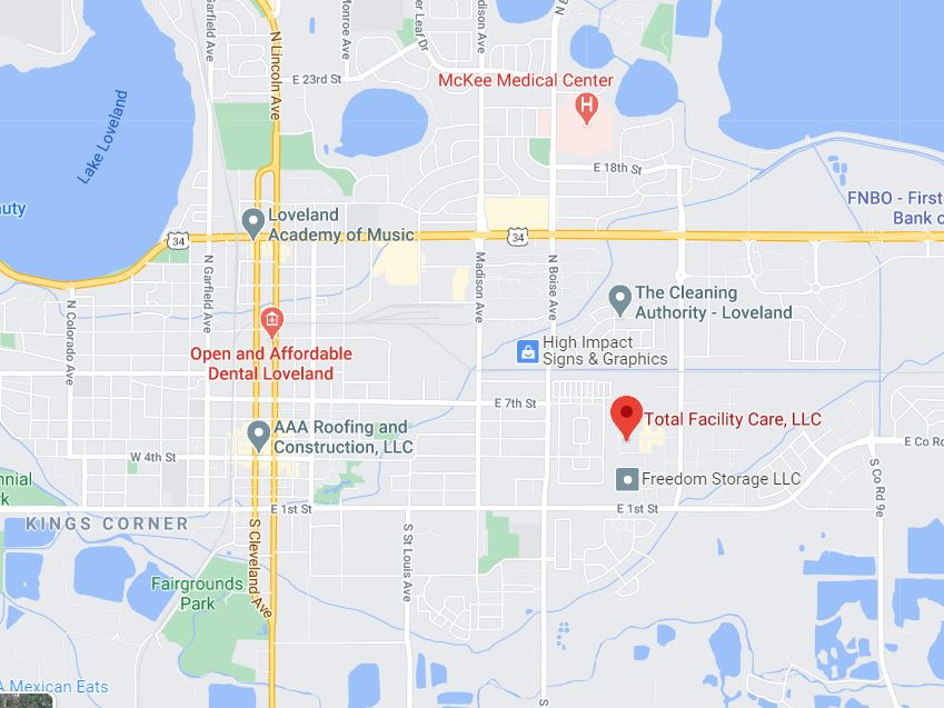 static Google Map to show the location of Total Facility Care