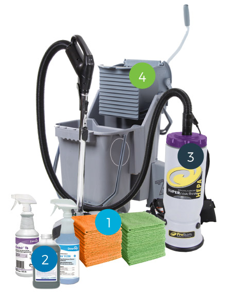 photo of cleaning supplies used by TFC technicians to provide commercial cleaning services